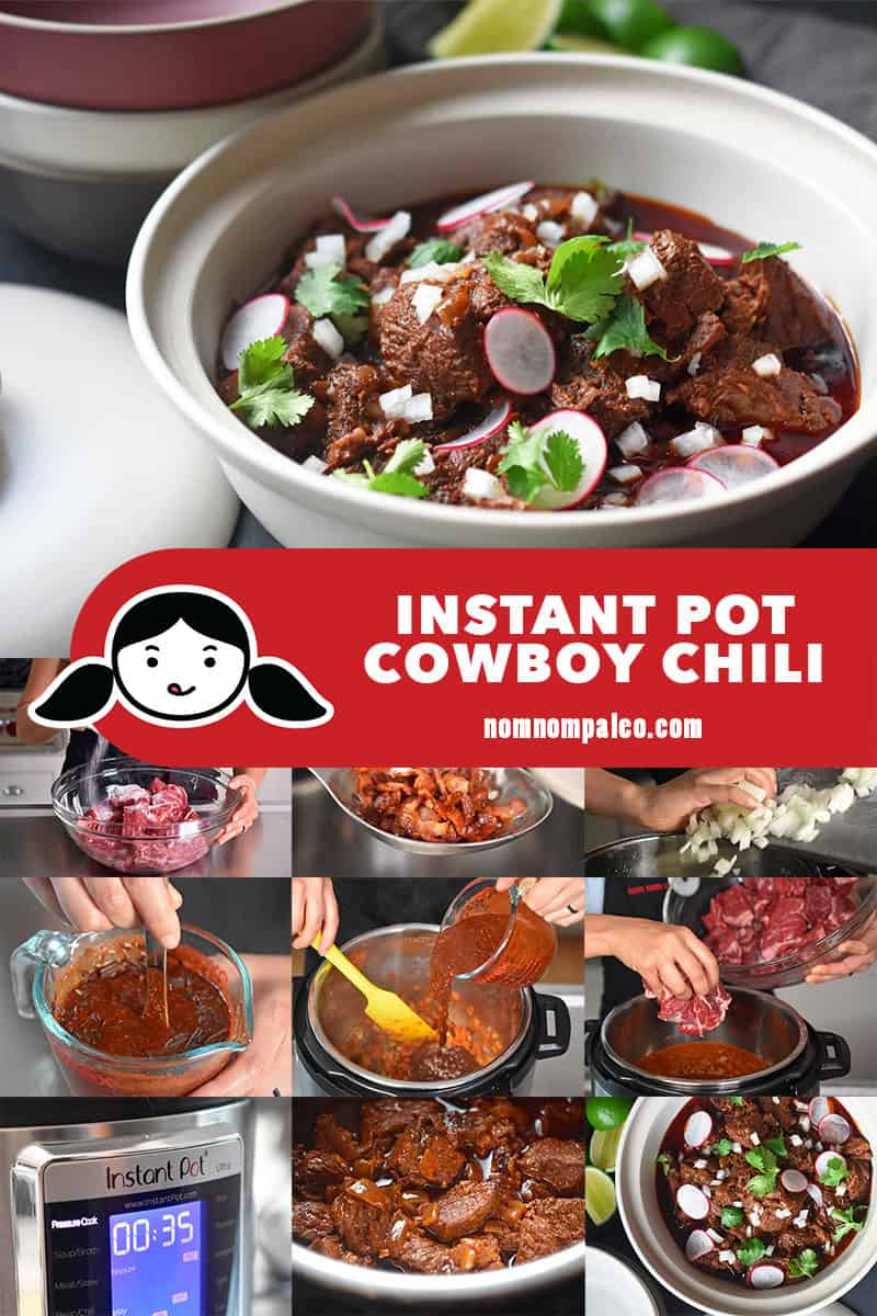 Collage of the cooking steps to make Instant Pot Cowboy Chili.