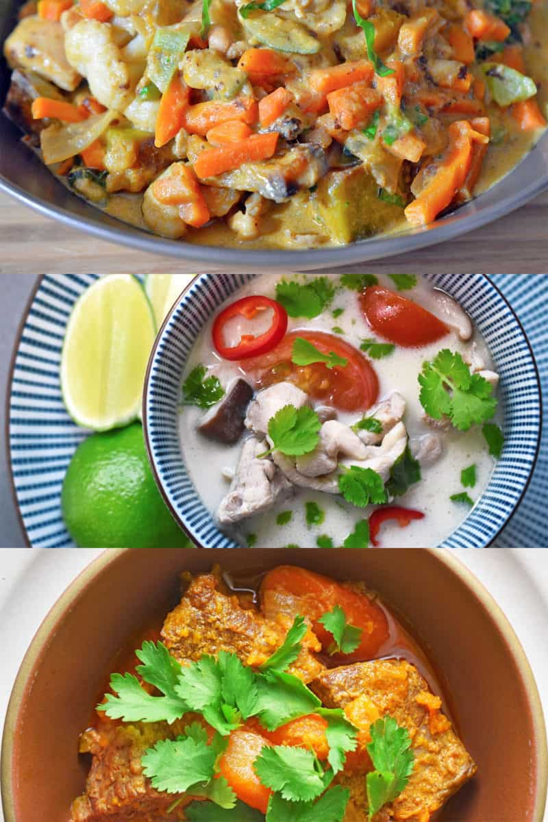 Three Whole30 Thai dishes that you can make with leftover Thai curry paste: Thai Chicken Curry, Tom Kha Gai, and Instant Pot Beef Curry