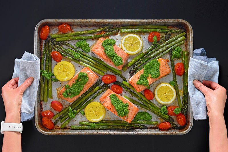 An overhead shot of Sheet Pan Salmon Supper