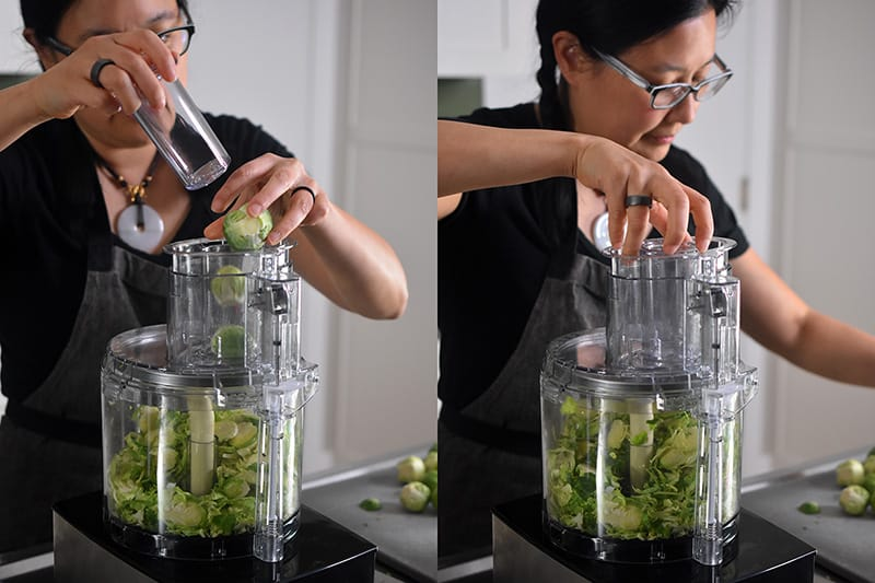 Shredding whole Brussels sprouts with the slicing attachment on a food processor.