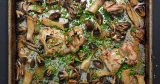 An overhead shot of Sheet Pan Chicken and Mushrooms