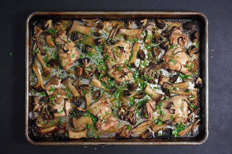 An overhead shot of Sheet Pan Chicken and Mushrooms ready to eat!