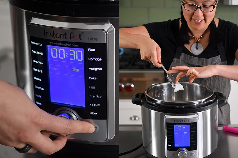 A front shot of an Instant Pot Ultra on the sauté function. A woman is adding a spoonful of coconut oil to the Instant Pot.