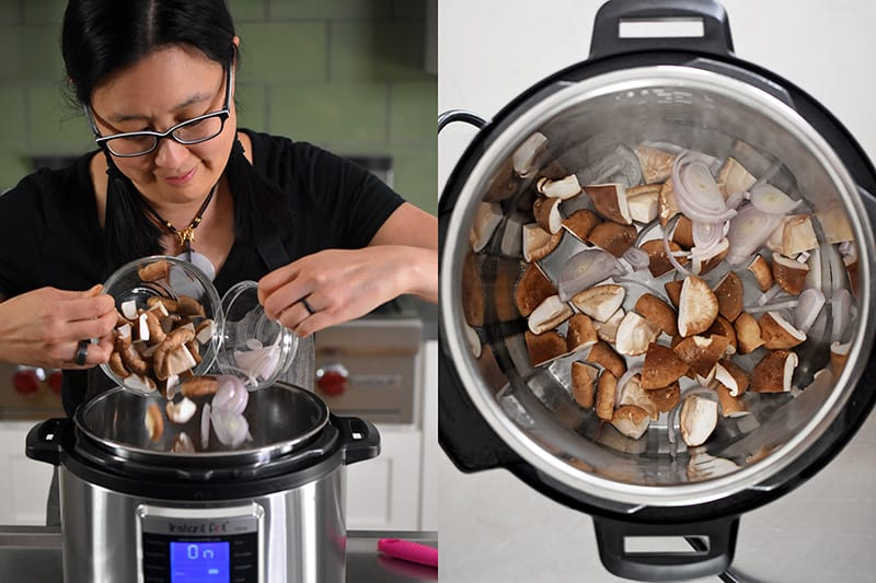 Sliced shiitake mushrooms and shallots are added to an open Instant Pot.