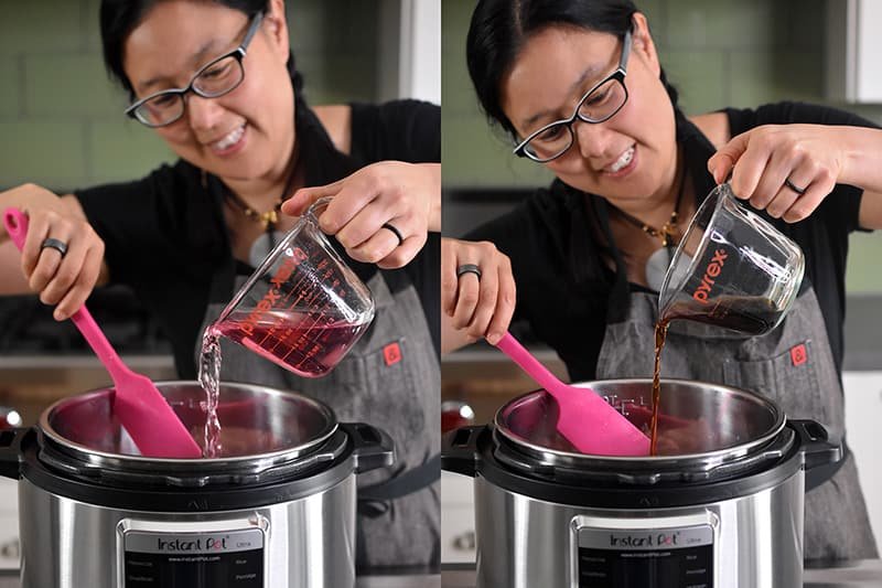 A smiling Asian woman with glasses is pouring pink coconut water and fish sauce into an open Instant Pot.