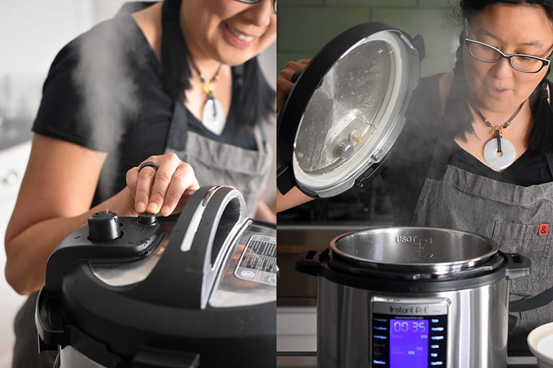 On the left, a woman is manually releasing the pressure from and Instant Pot and steam is coming out of the valve. On the right, the lid of the Instant Pot is removed, revealing lots of steam.