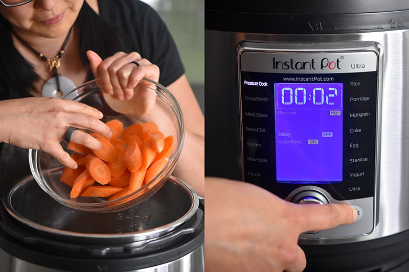 Sliced carrots are added to an open Instant Pot and the display shows 2 minutes under high pressure.