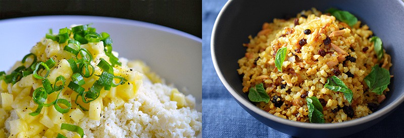 "A shot of Coconut Pineapple ""Rice"" and Persian Cauliflower Rice"