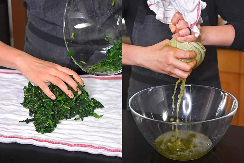 Placing thawed frozen spinach on a clean kitchen towel and squeezing out the liquid.