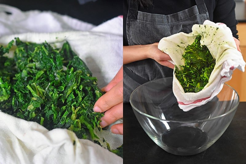 Transferring the dried spinach to a large bowl.