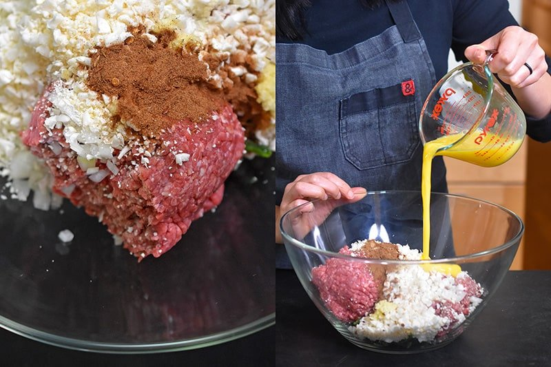 Pouring whisked eggs into the unmixed meatloaf ingredients.