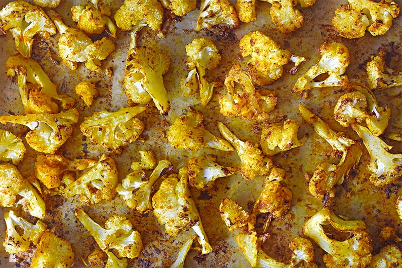 An overhead shot of Roasted Curried Cauliflower fresh from the oven.