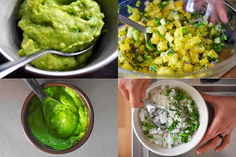 A collage of Whole30 taco toppings: guacamole, spicy pineapple salsa, avocado crema, and diced onions and cilantro.