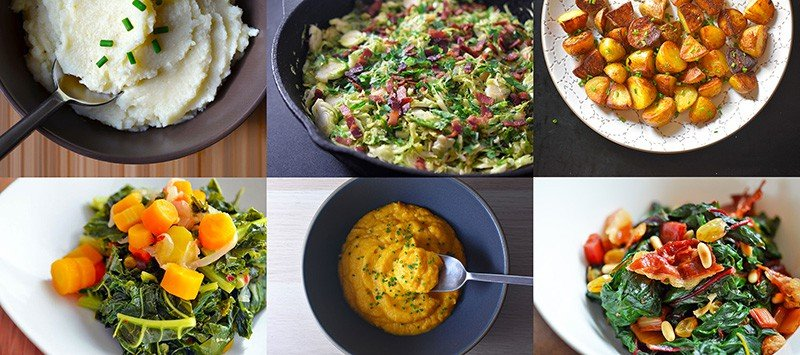 A collage of the side dishes that can accompany a whole roasted chicken dinner