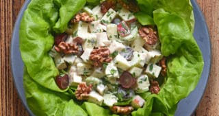 An overhead shot of Chicken Waldorf Salad