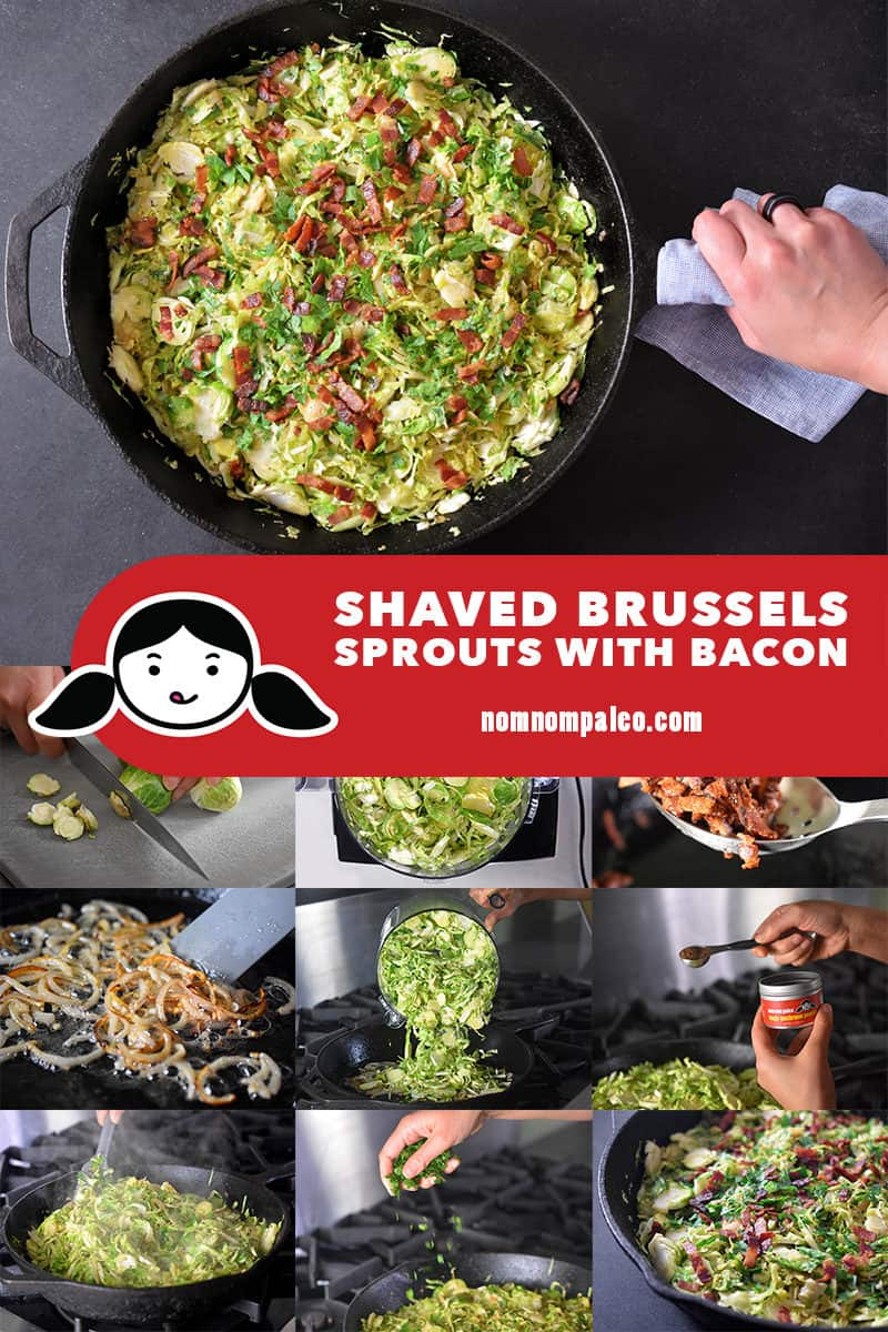A collage of the cooking steps to make Shaved Brussels Sprouts with Bacon.