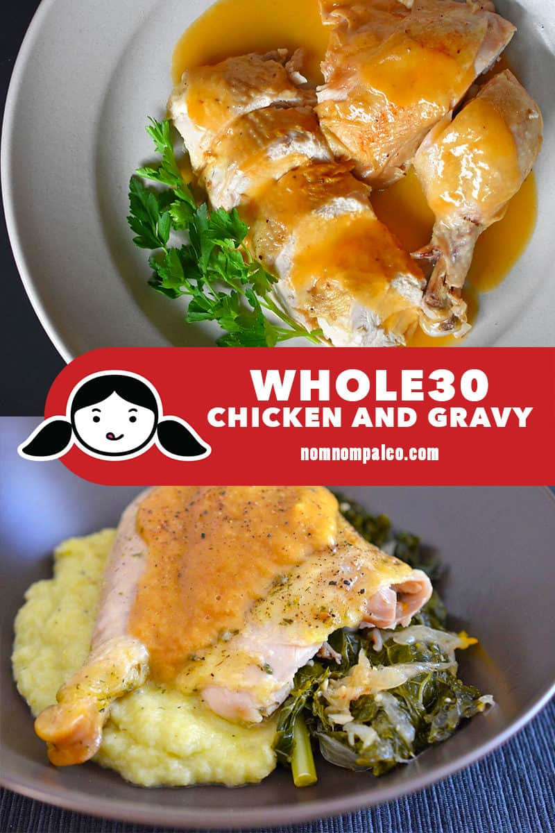 Two overhead shots of plates of Whole30 Chicken and Gravy. One was made in the Instant Pot, the other in the slow cooker/Crock-Pot.
