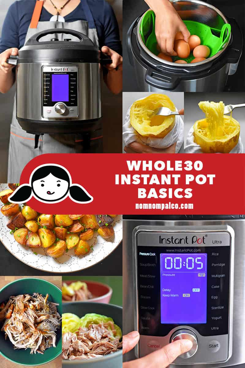A collage of pictures of how an Instant Pot can help you cook Whole30 meals.