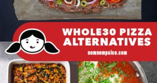 A collage of Whole30 pizza alternative recipes by Nom Nom Paleo