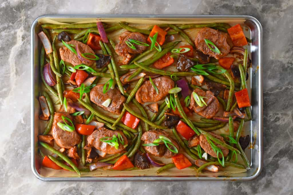 An overhead shot of Sheet Pan Sweet and Spicy Pork ready to eat.
