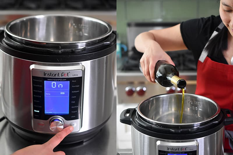 A finger presses the Start button on an Instant Pot to turn on the Sauté function. Extra virgin olive oil is poured into the metal insert of an Instant Pot when it gets hot.