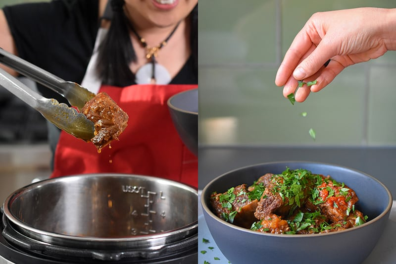 Using a pair of tongs to transfer the short ribs to a serving dish. On the right, someone is sprinkling minced Italian parsley on top of the Instant Pot Magic Short Ribs