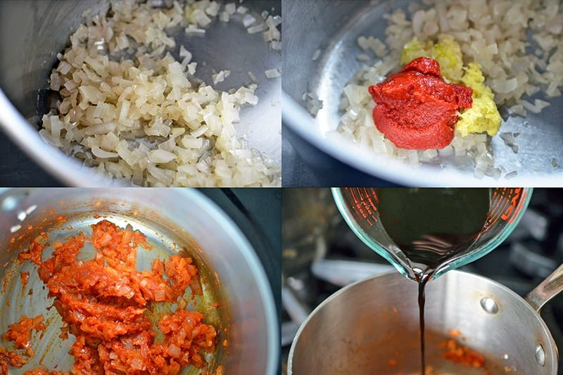 Four pictures that show how to make the base of the Whole30 BBQ sauce.