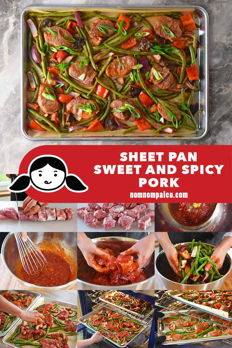 A collage of the cooking steps for Sheet Pan Sweet and Spicy Pork.