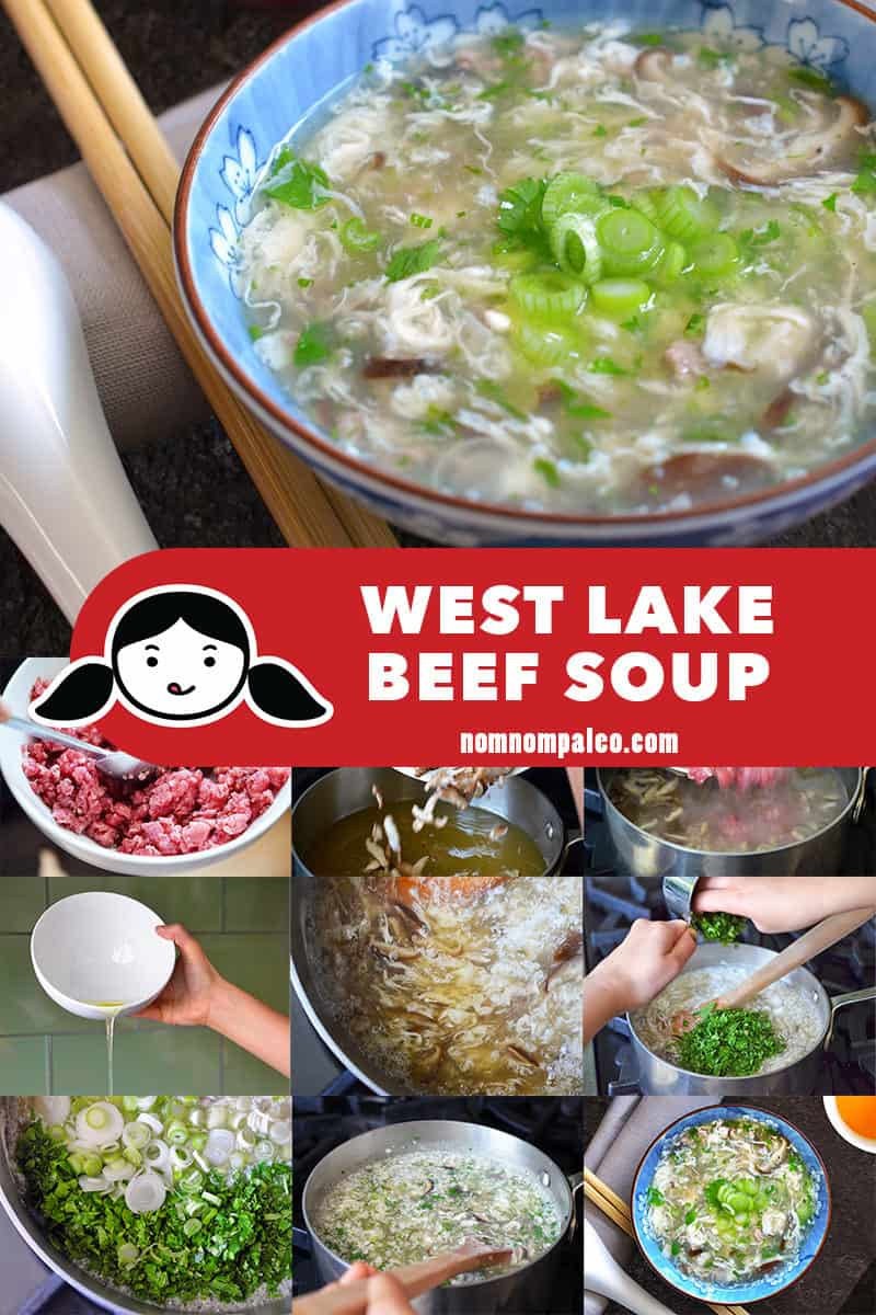 A collage of the cooking steps to make West Lake Beef Soup.
