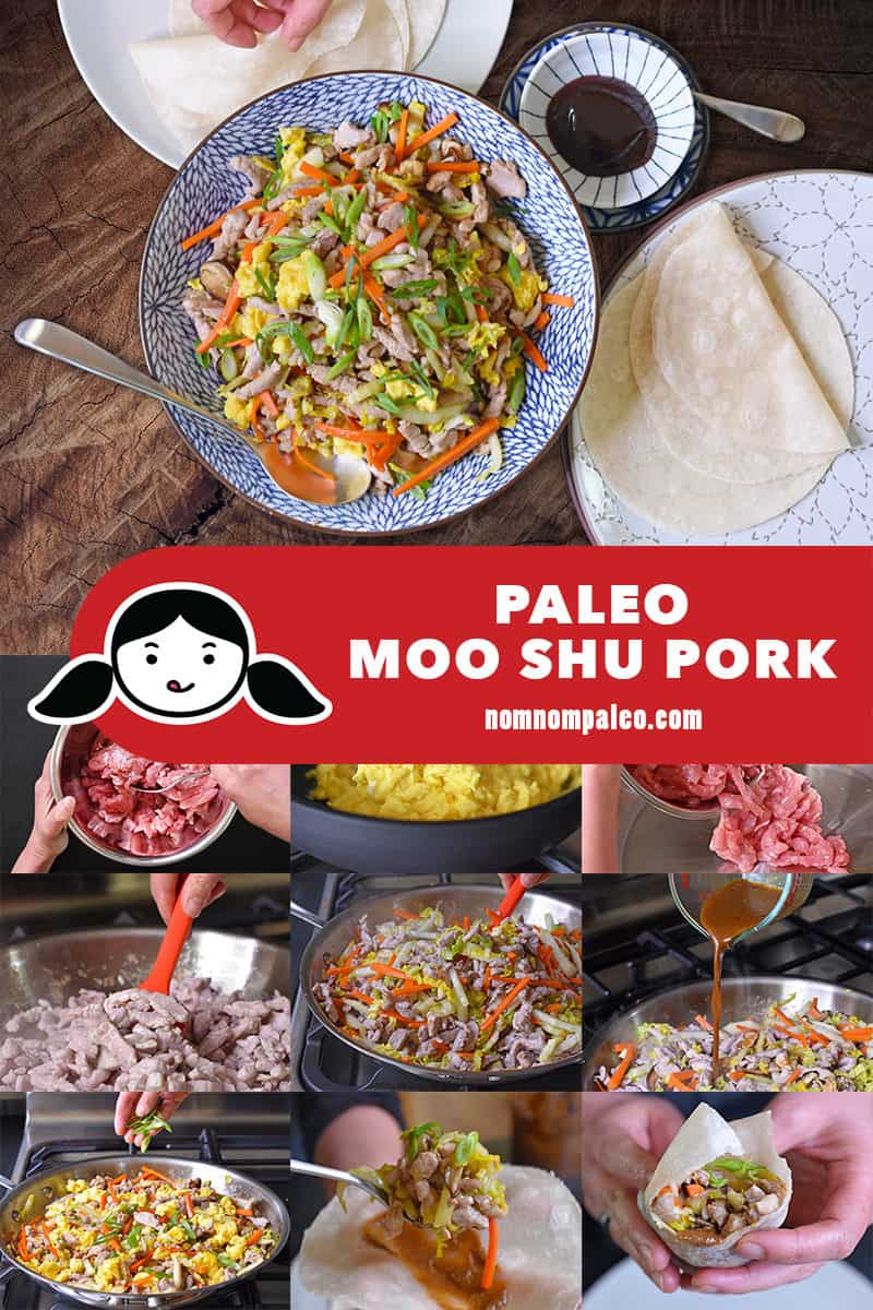 A collage of the cooking steps to make Paleo Moo Shu Pork