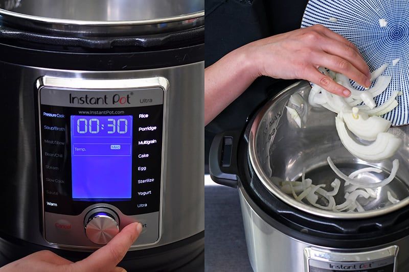 The front of an Instant Pot Ultra is shown where someone is programming it to cook on the sauté function. On the right hand side picture, someone is adding sliced onions to the Instant Pot.