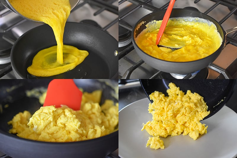 Scrambling eggs in a non-stick skillet until they are moist and fluffy.