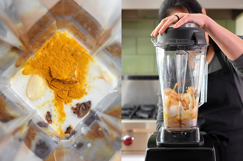 A shot of a woman making the paleo chicken satay marinade in a Vitamix.