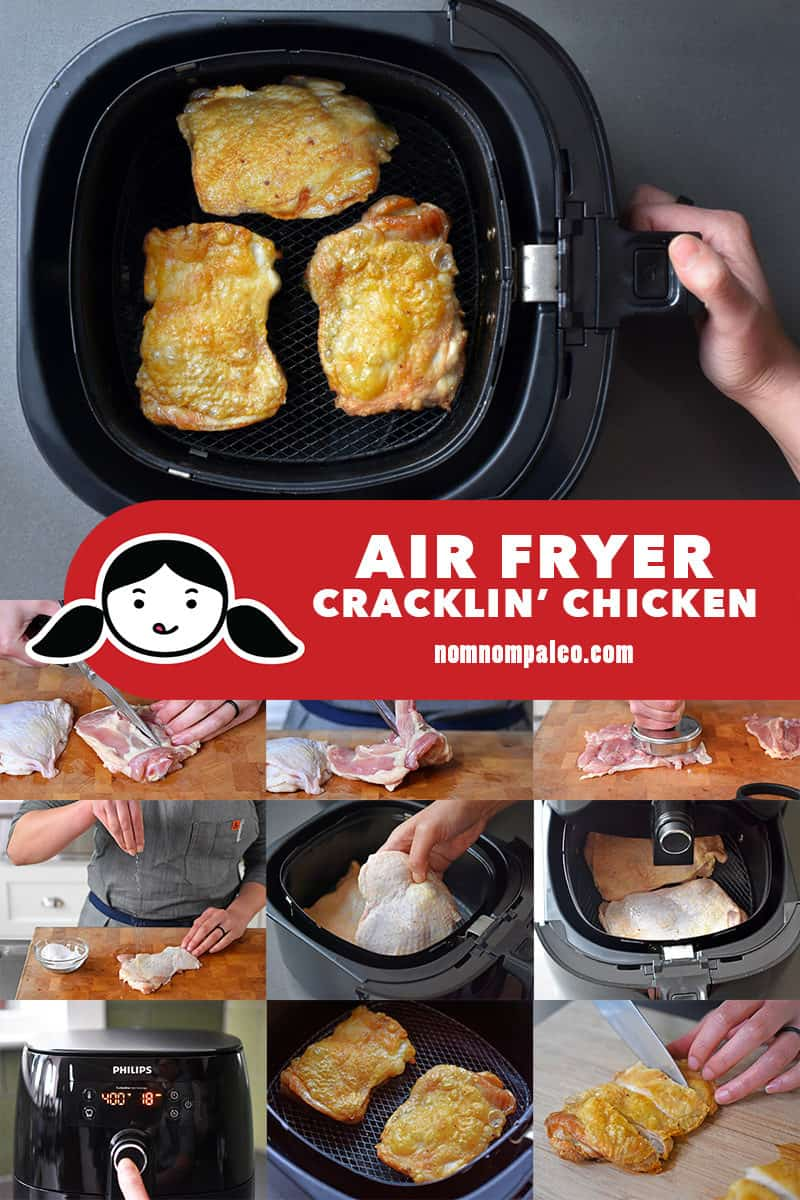 A collage of the cooking steps to make Air Fryer Cracklin' Chicken