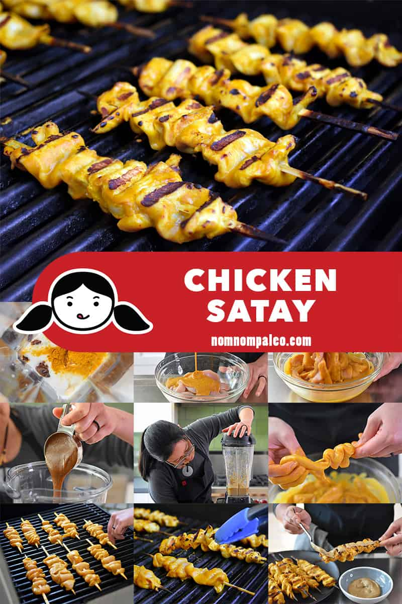 A collage of the cooking steps to make Paleo Chicken Satay.