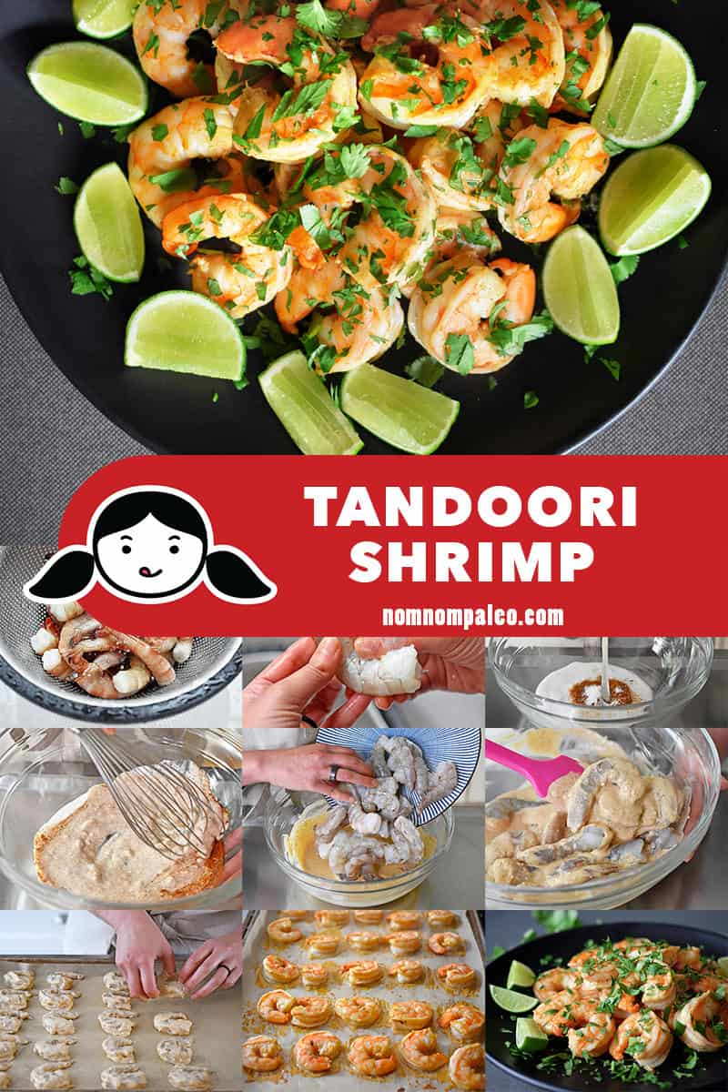 A collage of the cooking steps to make Tandoori Shrimp.