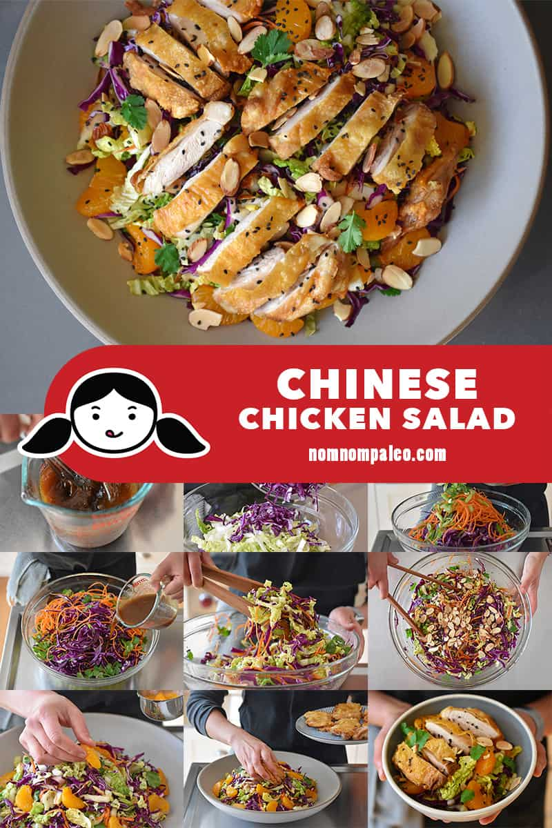 A collage of the cooking steps for Whole30 Chinese Chicken Salad