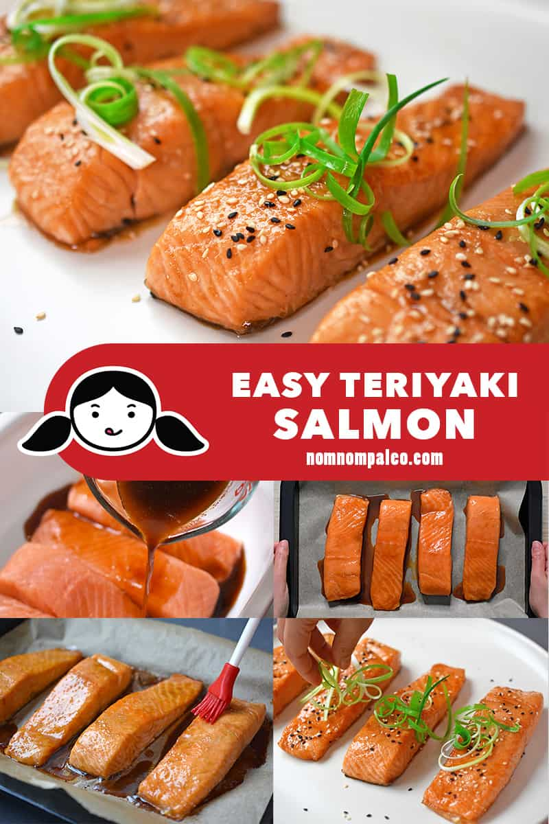 A collage of the cooking steps to make Easy Teriyaki Salmon, a healthy Whole30 seafood dish.