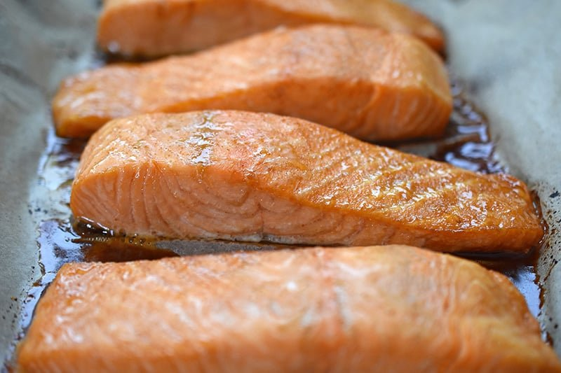 A closeup shot of easy teriyaki salmon right out of the oven.