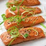 A platter of Easy Teriyaki Salmon, a simple Whole30, paleo, gluten-free weeknight dinner!