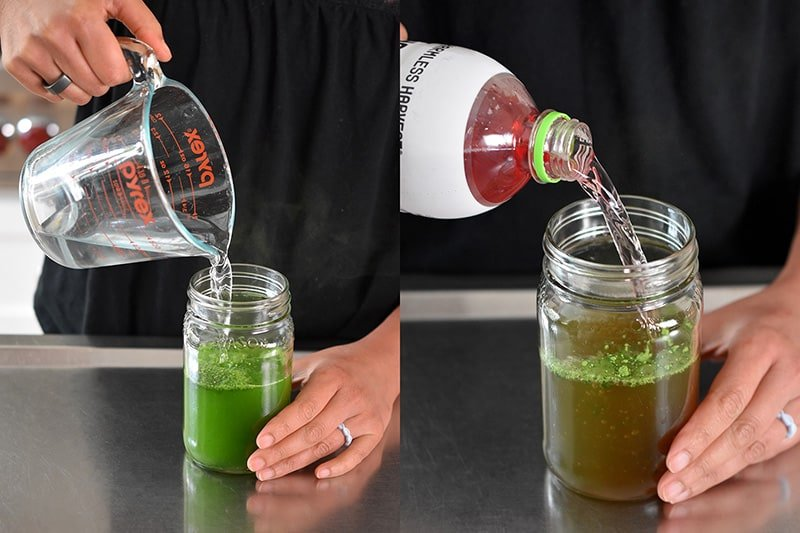Two shots of cold brew matcha. The one on the left has someone adding cold water to the mason jar and the one of the right has someone adding coconut water to the jar.