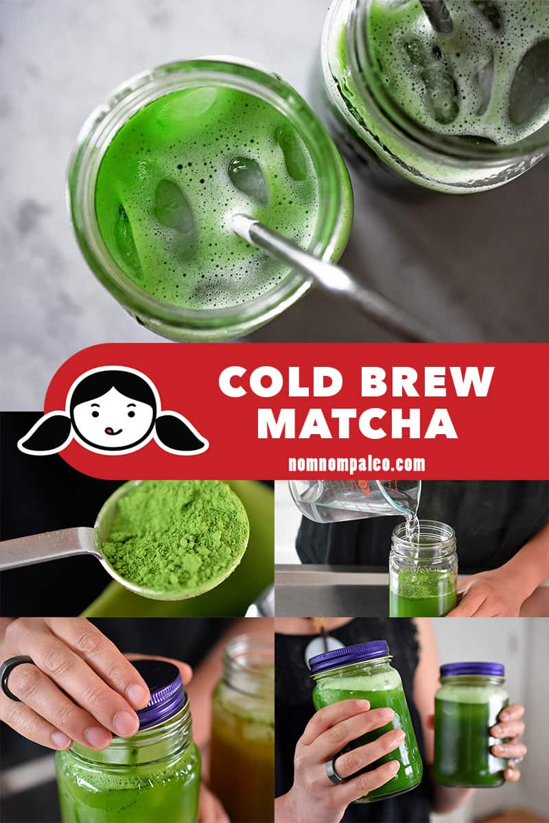A step-by-step collage of how to make cold brew matcha at home.