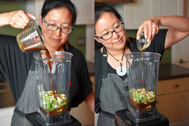 An Asian woman is adding All-Purpose Stir-Fry Sauce and toasted sesame oil to a blender to make Whole30 and paleo Korean BBQ short ribs marinade