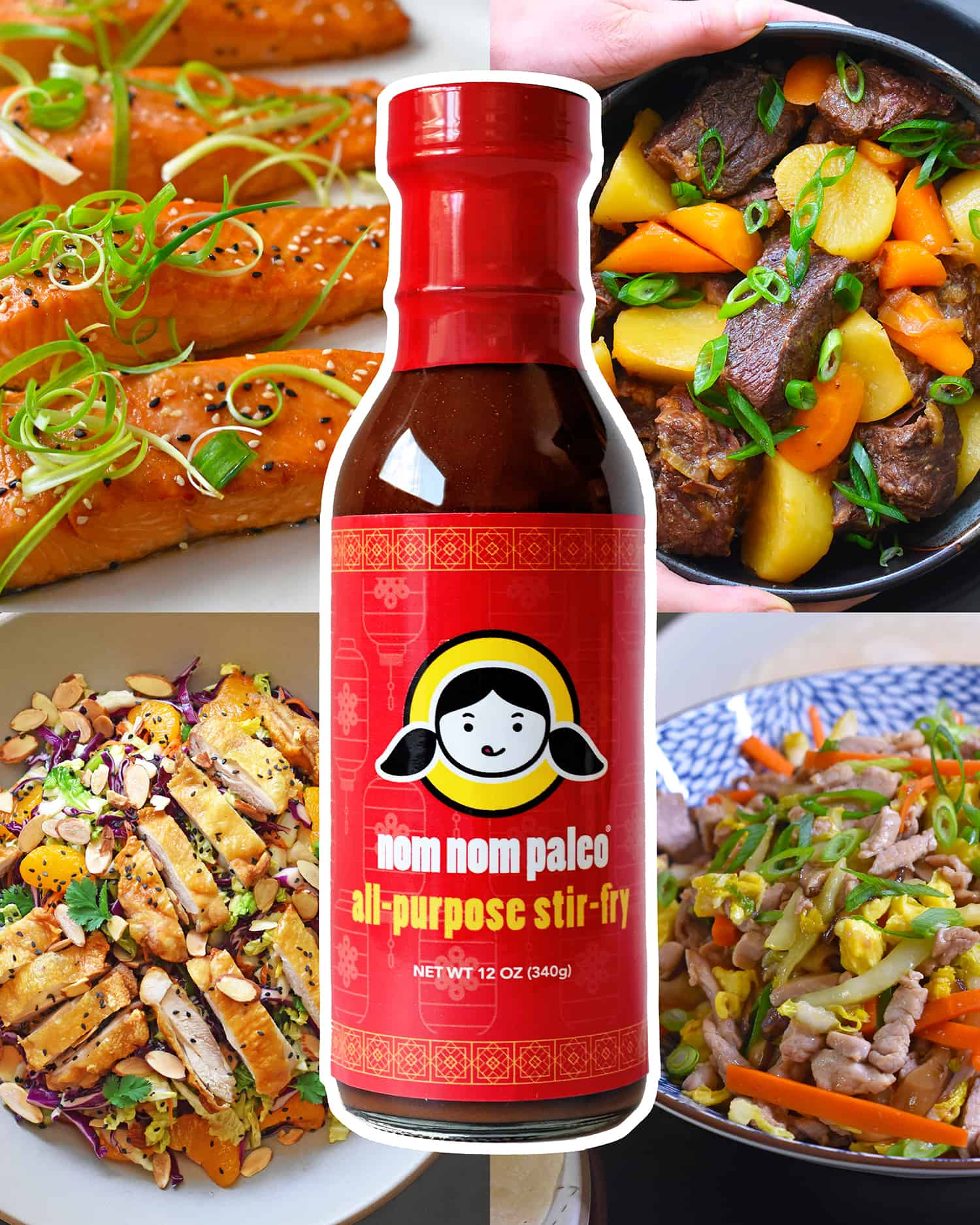 A bottle of Nom Nom Paleo's All-Purpose Stir-Fry Sauce is surrounded by pictures of easy paleo-friendly dishes you can make with it.