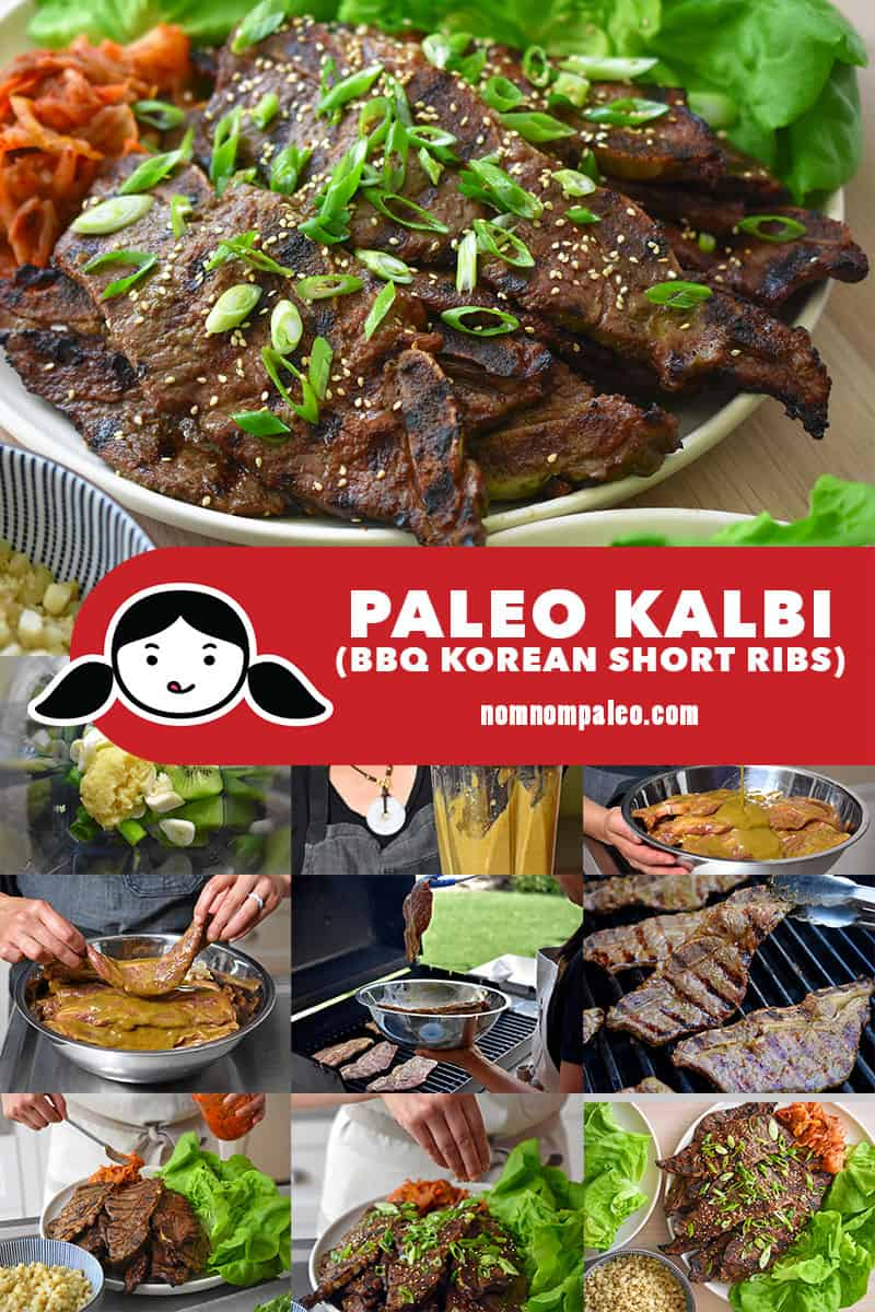 A step-by-step collage on how to make paleo kalbi or galbi, barbecue Korean beef short ribs.