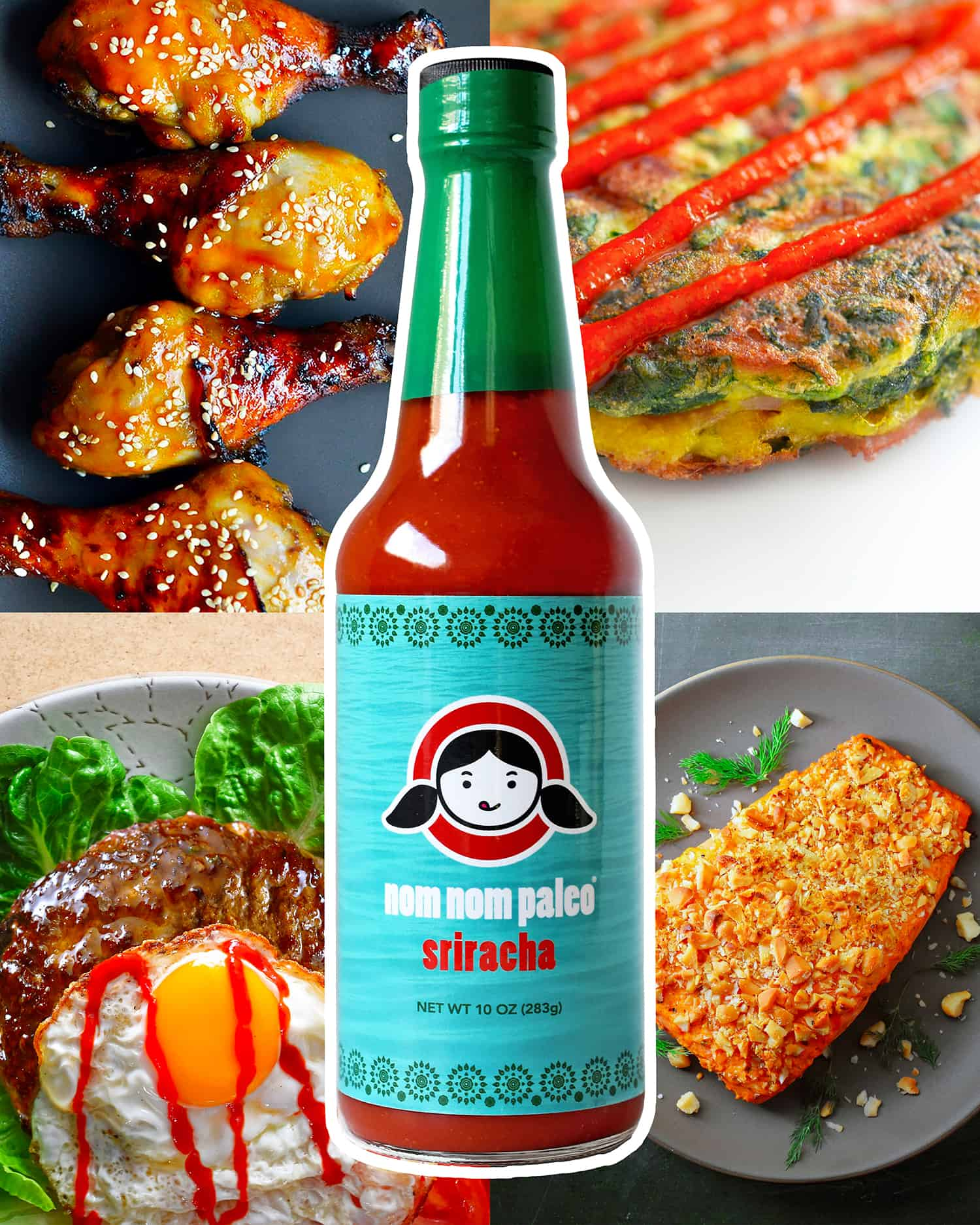 A bottle of Nom Nom Paleo Sriracha is surrounded by easy, weeknight, paleo-friendly dishes you can make with it.