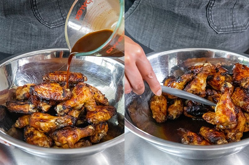 Pouring reserved Whole30 marinade on the gluten-free Chinese Chicken Wings