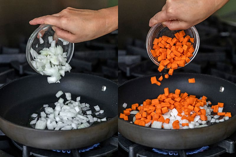 Adding diced onions and carrots to a non-stick skillet to make Whole30 Cauliflower Chicken Fried Rice