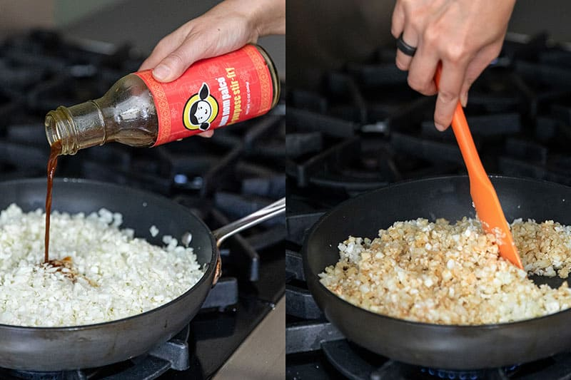 Adding All-Purpose Stir-Fry Sauce to cauliflower rice to make a delicious Whole30 dinner
