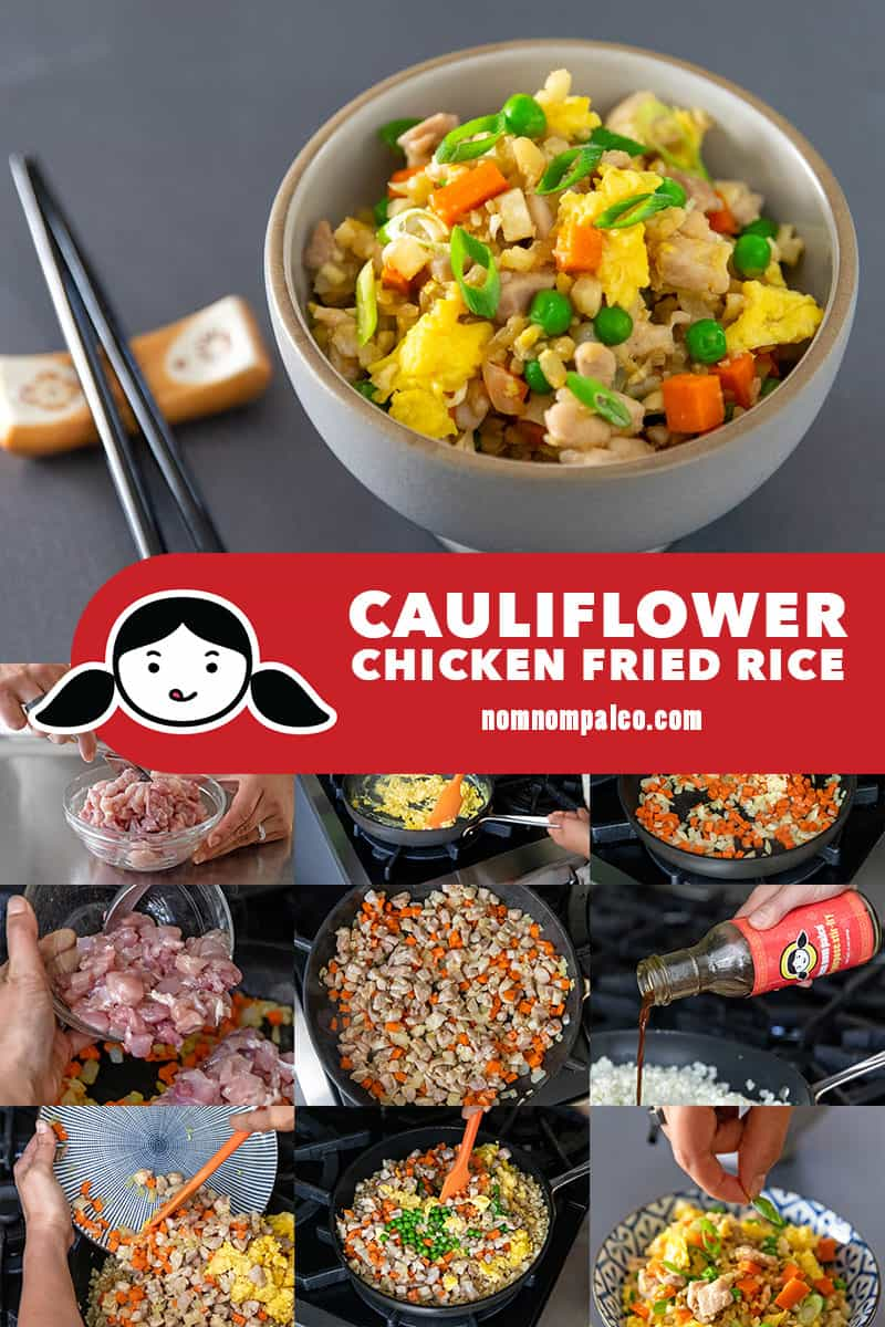 A collage of the cooking steps to make low carb Cauliflower Chicken Fried Rice